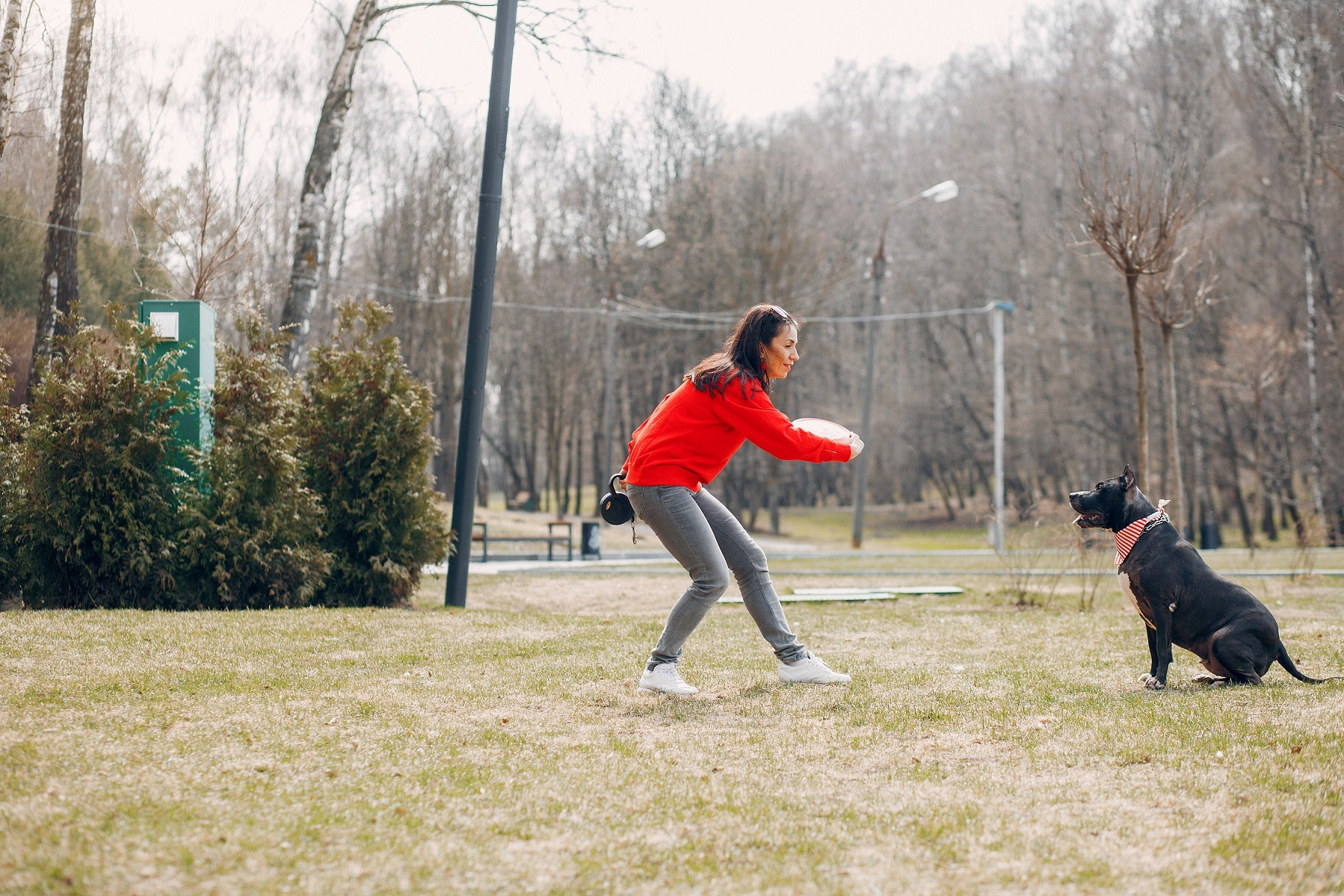Sports And Stylish Woman In A Spring Park